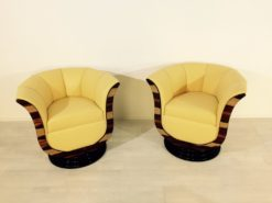 Art Deco tulip armchairs, unique form, highquality leather, macassar wood, highgloss black foot