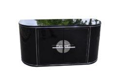 Art Deco Sideboard, wonderful body, chromebars, handpolished, highgloss black