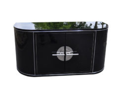 Art Deco Sideboard, wonderful body, chromebars, handpolished, highgloss black