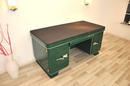 Classic Art Deco desk, chromefittings, Jaguar Green Edition, compartement with a mirror, topplate made of Alcantara-leather