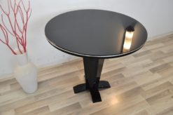 Art Deco Side Table, round topplate with lacobell glass, chromebar, stable stand