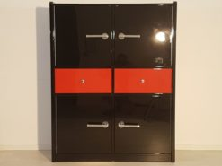 Art Deco Bar Cabinet, glas shelves, plenty of storage, high gloss black and red, chrome handles, dining room,