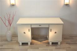 Classic Art Deco desk, snow white, 2 swingdoors, clean interior, chromebars, chromefittings, handpolished, free adjustable