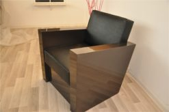 Art Deco armchair, dark silver paintjob, beautiful and comfortable body, black leather