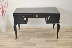 Art Deco lady desk, unique design, rare body form, original curved legs, clean interior