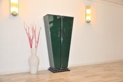 Art Deco Console, Tulipbody, painted interior&exterior, stairfoot, glasshelves, mirror backpanel, chromefittings