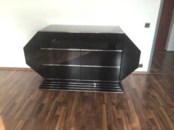 Art Deco Sideboard, wonderful body shape, 6 drawers, chromebars, highgloss pianolacquer, french stairfoot, sidepanels with wing doors