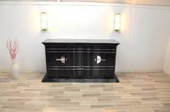 Art Deco SIdeboard, absolute classic, interior painted in NEW YORK yellow, handpolished, highgloss black, chromebars and chromed steelfittings