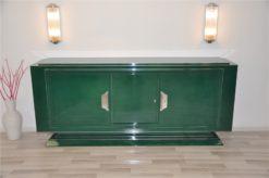 Art Deco sidebaord, racing green highgloss lacquer, wonderful straight body, 2 big swing doors, big chrome fittings, chromebars, handpolished
