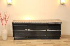 Art Deco Sideboard, chromebands, leather covered plate ( snake-optics ), chromefittings, handpolished, highgloss