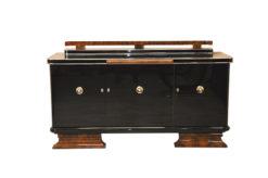 Art Deco Sideboard, highgloss, chromefittings, walnut wood, formed back ornamentation, curved feet