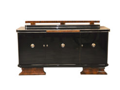 Art Deco Sideboard, highgloss, chromefittings, walnut wood, formed back ornamentation, curved feet