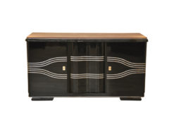 Art Deco Sideboard, wonderful straight body with rounded corners, highgloss black, big chromebars, hand polished, leatherplate, plenty of storage space