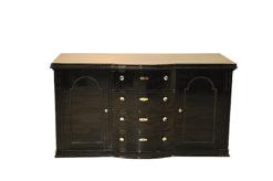 Belgian Art Deco Commode, beautiful ornamentations, highgloss, handpolished, chromefittings, original keys, rounded drawers