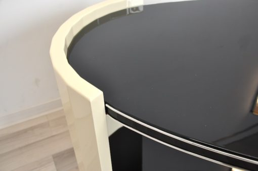 Art Deco Coffeetable, folded round arches, ivory paintjob with pianolacquer, unique Design
