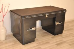 Art Deco desk, metallic paintjob, chrome fittings and bars, plate made of alcantara leather, plenty of storage space