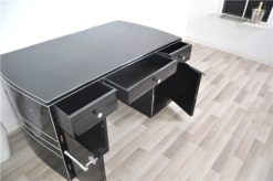 Art Deco Desk, wonderful curved body, highgloss black, big chromeline, hand polished, rare furniture