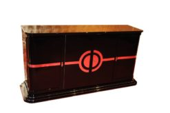 Art Deco Sideboard, New York 1933, Chromliner, pianolacquer, stairfoot, interior painted in red