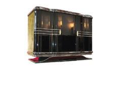 Art Deco Commode, curved swing doors, french feet, original keys, 11-layer painting, 2 drawers, chromebars & fittings