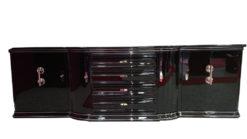Art Deco Sideboard, wonderful big chromefittings, 4 curved doors and 4 drawers , original keys, pianolacquer