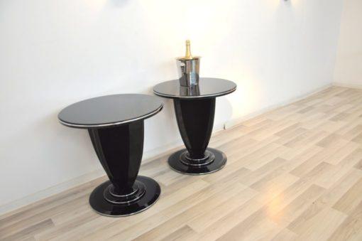 Art Deco Side Table, unique Design, pointing feet, chromebars