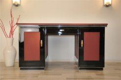 classic Art Deco desk, 2 swing doors, central drawers, chromebands, chromefittings, handpolished, absolute eyecatcher