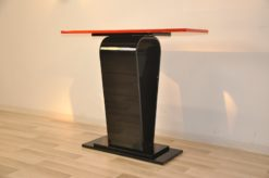 Very beautiful Art Deco Console with a special body, handpolished, chromelines , curved legs, filigree legs, highgloss red bar
