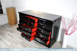 Art Deco chest of drawers, highgloss pianolacquer, chromehandles, red interior