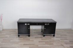 Art Deco Desk, classic Art Deco desk, france, 2 swing doors, clean interior, chromebands, chromefittings, handpolished