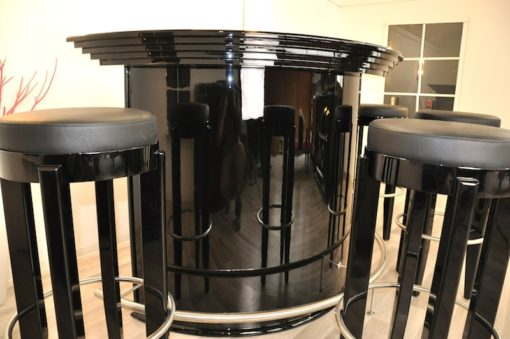 Art Deco Bar, stools, rotating footrest (stainless steel), highgloss black, stairform, unique Design * New York 1930*
