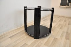 Art Deco sidetable, classic design, highgloss black, 4 stable legs, embedded plate, handpolished