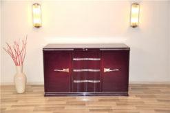 Art Deco Sideboard, construcion year: 1935, handpolished higgloss lilac, beautiful body form, chromefittings, chromebars,