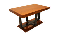 Art Deco Side Table, Mahogany Furnier, handpolished, highgloss paintjob, stairfoot
