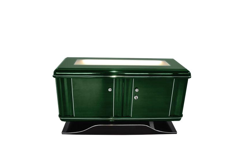 Illuminated art deco dresser in jaguar racing green - Kommode beleuchtet ...