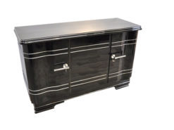 Art Deco Chromliner Sideboard, massive chromehandles, handpolished pianolacquer, timeless Design with curved doors