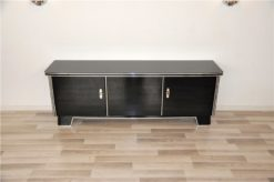 Art Deco Lowboard, classic body, rotating chromebars, clean interior, topplate made of lacobelglas