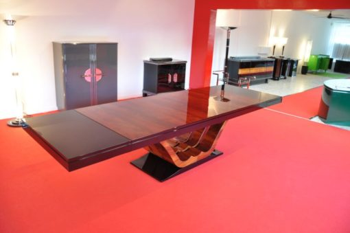 Art Deco XXL Dining Table, unique Stand, two shelves, wonderful foot, extpandable up to 350cm, Pyramid-Mahagoni Furnier, rare single piece
