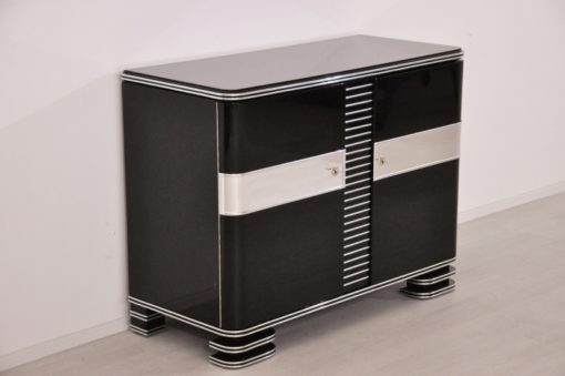 Art Deco Commode, bruxelle, stairfoot, chromefittings & bars, handpolished & highgloss paintjob, buffet, living room, furniture