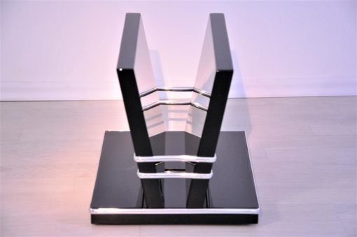 Art Deco Newspaper Stand, timeless design in high gloss black, with three beautiful chromelines, furniture, design piece, elegant