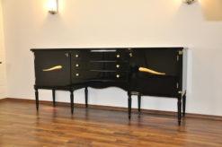 Art Deco Commode, highgloss / black, brass fittings, handpolished, 3 drawers, two shelves