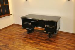 Art Deco Desk, chromeliner, free adjustable, highgloss black, clean interior