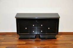 Art Deco Commode, straight body language, chromeliner, 4 drawers and 2 doors, black pianolacquer, handpolished