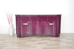 Art Deco Sideboard, highgloss lacquer in purple, chromapplications, extension with black lacobel plate, clean interior
