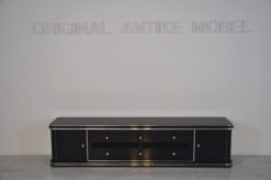 Art Deco Lowboard, Width 2,5m - with 2 doors and 6 drawers, chrome handles and original keys, highgloss black, handpolished
