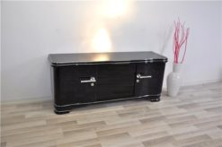 Art Deco Lowboard, highgloss black pianolacquer, handpolished, 12 layers of lacquer, big chromehandles, clean interior