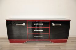 Art Deco Commode, extravagant and elegant design, two colred highgloss lacquers (Summer Cherry Red/ Piano Black), big chromehandles
