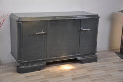 Art Deco Sideboard, france 1929, unique color - metallic grey, 3 curved doors, elegant design, chrome applications
