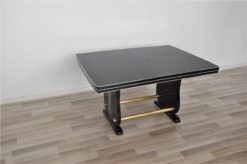 Art Deco Dining Table, highgloss black pianolacquer, great design with two brassrods, rotating chromelines, germany 1928