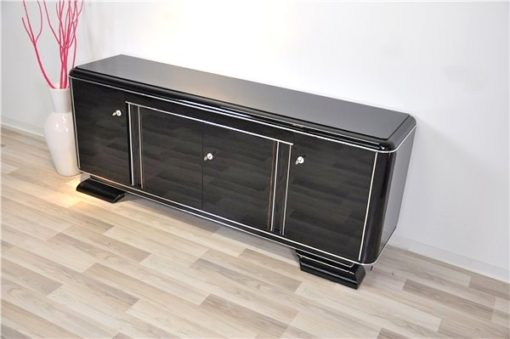Art Deco Lowboard, black pianolacquer, lacobel glass plate, plenty storage and clean interior