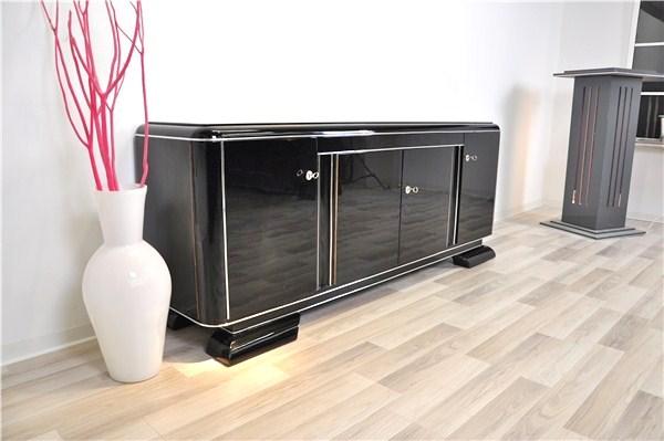 art deco lowboard with blackened glass original antique. Black Bedroom Furniture Sets. Home Design Ideas